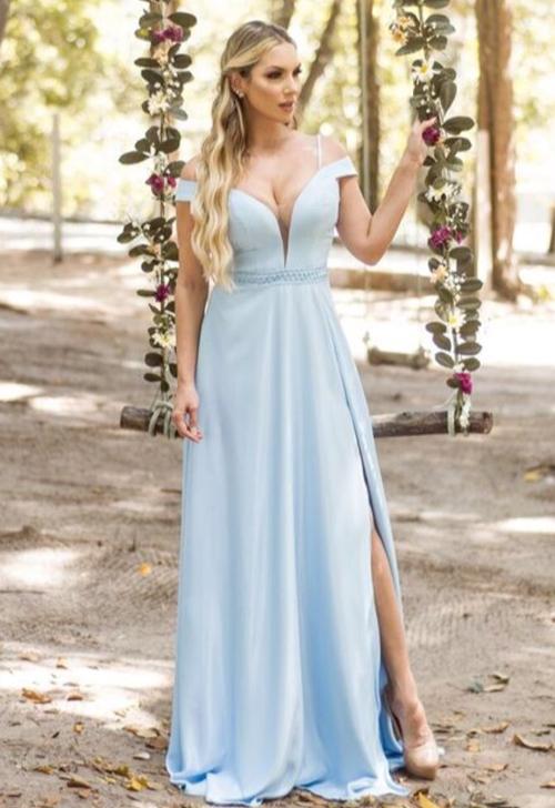 Vestido longo azul claro