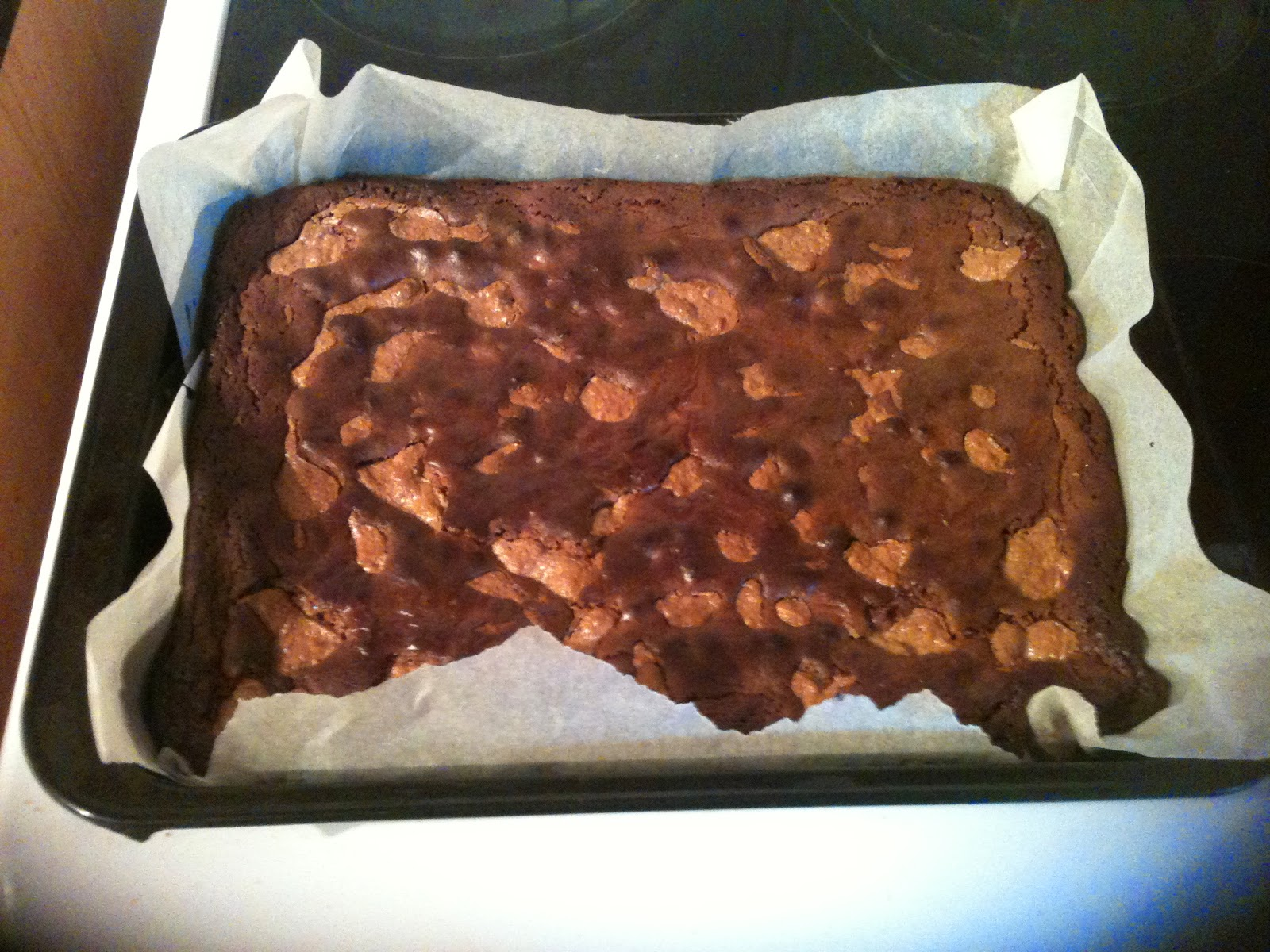 Slab of peanut butter and chocolate brownie just from the oven