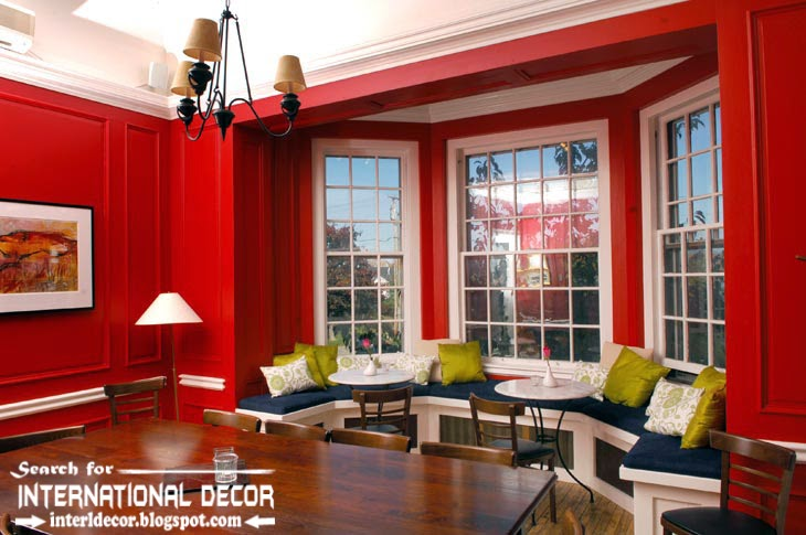 Color Combinations With Red Color In The Interior, Red Wall Paint With Bay  Windows