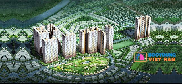 Phối cảnh toàn khu dự án Booyoung Vina Mỗ Lao