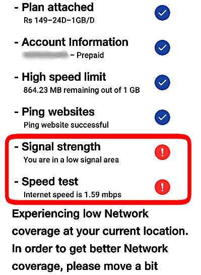 Check Signal Strength of the Sim