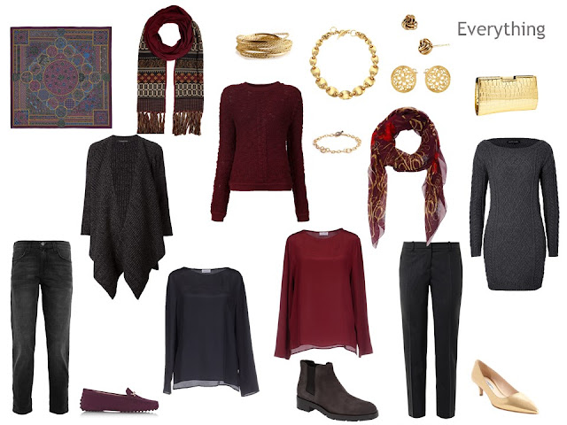 Clothes for an autumn weekend, in grey and burgundy, with gold accessories.