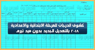 كشوف درجات صفوف المرحلة الأبتدائية والأعدادية 2018 بعد الغاء الميد تيرم