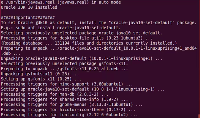 Ubuntu JDK 10 Installed