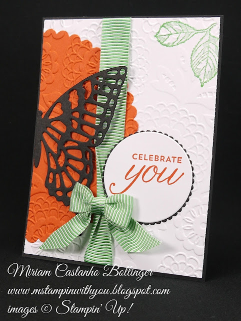 Miriam Castanho-Bollinger, #mstampinwithyou, stampin up, demonstrator, mm, all occasions card, birthday blossoms stamp set, big shot, circles framelit collection, layering circles, butterflies thinlits die, lovely lace tief, su