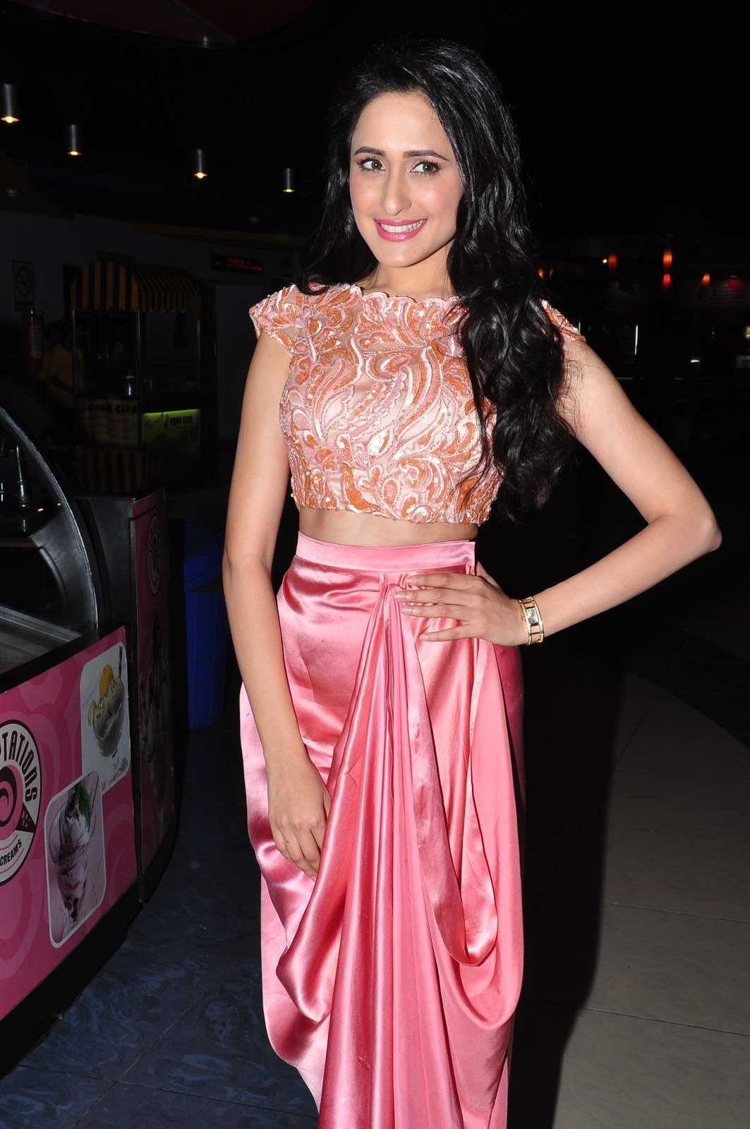 Actress Pragya Jaiswal Long Hair Stills In Pink Dress