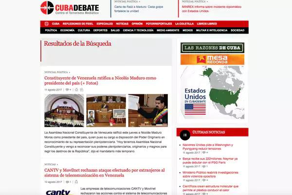 """Artículos publicados en CubaDebate, un medio digital estatal cuyo lema es """"contra el terrorismo mediático"""", hablan sobre el supuesto plan del Comando Sur de Estados Unidos para derrocar al gobierno de Maduro. Aunque el documento es falso y el Comando Sur negó su autoría, el sitio continuó publicando acerca del tema, en una tendencia ya conocida de reproducir este tipo de teorías conspirativas.  La mayoría de los medios cubanos publican noticias de las que no contraponen fuentes. Por ejemplo, el periódico Granma, órgano oficial del Partido Comunista, no ha mencionado a Leopoldo López en el último mes a pesar de los muchos escándalos internacionales que ha provocado sus salidas y reingresos a la prisión.  En una búsqueda simple se encuentran 75 menciones al opositor Henrique Capriles, gobernador del estado de Miranda, desde enero del 2014 hasta la fecha; Maduro, en cambio, ha sido mencionado en 939 ocasiones.  En los últimos cinco artículos que mencionan a Capriles se le asocia con """"acciones de calle que provocaron 11 muertos"""", """"contradicciones dentro de la derecha venezolana"""" y con la negativa de sostener un diálogo con el gobierno chavista"""