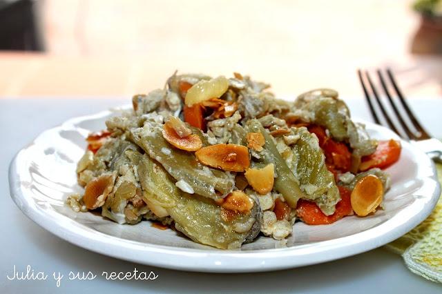 REvuelto de pencas de acelga con zanahorias y almendra. Julia y sus recetas