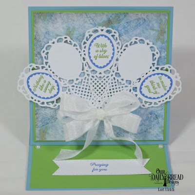 Our Daily Bread Designs Stamp Set: Lovely Flower, Custom Dies: Fancy Fan, Double Stitched Pennant Flags, Paper Collection: Blooming Garden