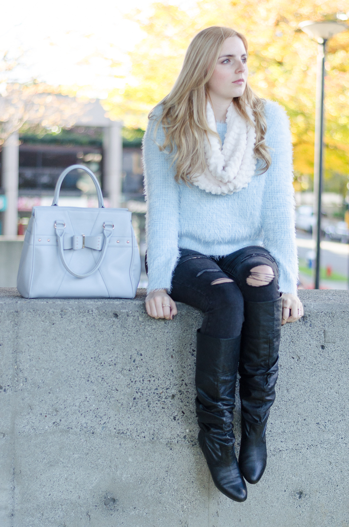 How to Style a Fuzzy Sweater