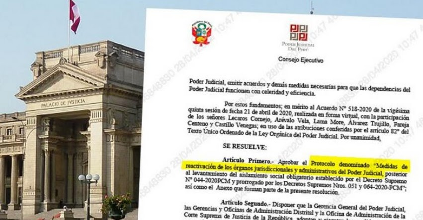 Poder Judicial aprueba protocolo para el retorno progresivo de actividades