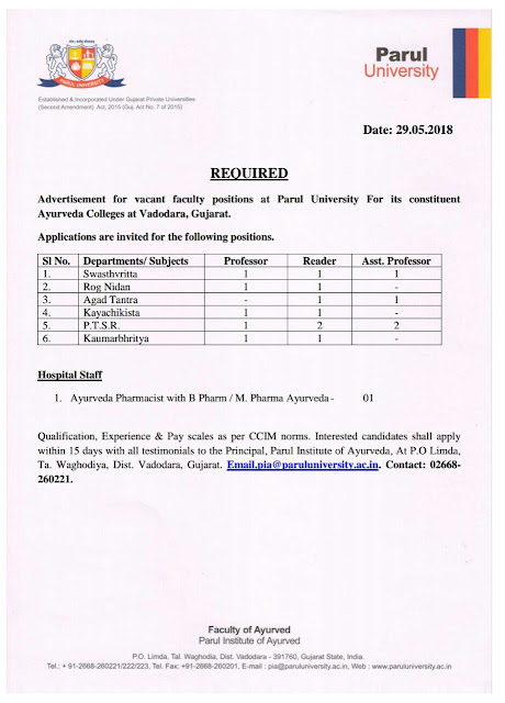 Info Ayurveda: Vacancy Notification for Teaching faculty