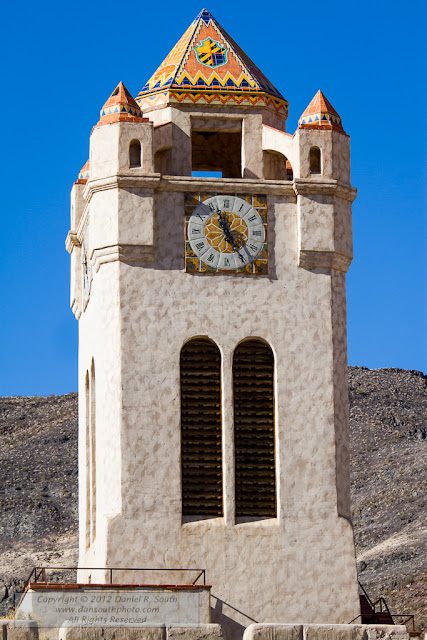 a photograph of the clock tower at scotty's castle