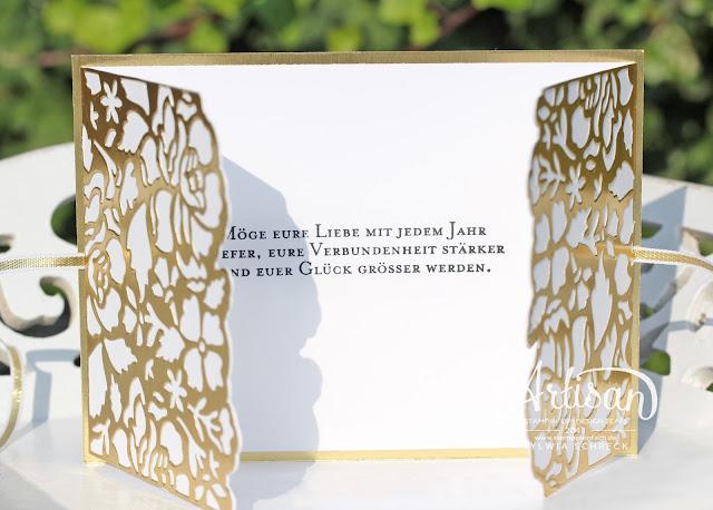 Karte zur Goldenen Hochzeit-Stampin up-Florale Grüße