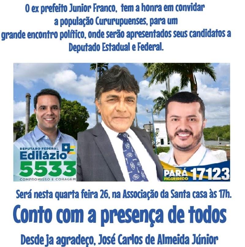 Cururupu recebe Pará Figueiredo e Edilázio nesta quarta-feira (26), como candidatos para as eleições 2018.