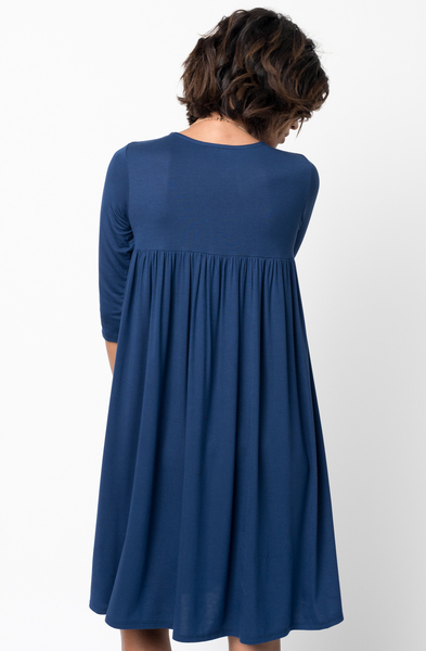 Shop for Navy Blue Shirred Back Midi 3/4 sleeve jersey dress crew neck online on caralase.com