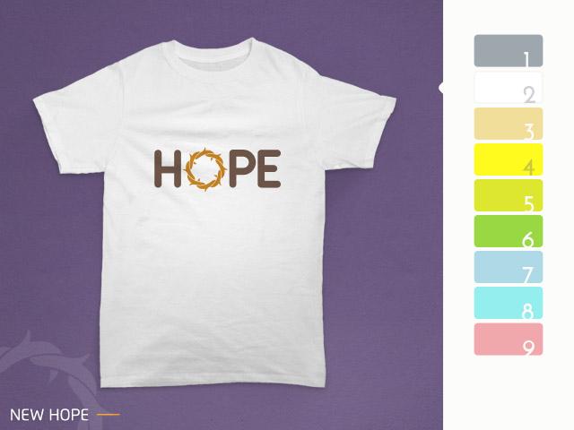 desain kaos hope diterapkan pada kain warna putih