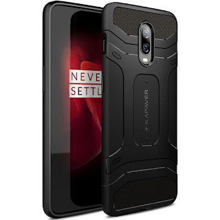 OnePlus 6T / One Plus 6T Case Premium Tough Rugged Solid Black Shock Proof Slim Armor Back Cover Case