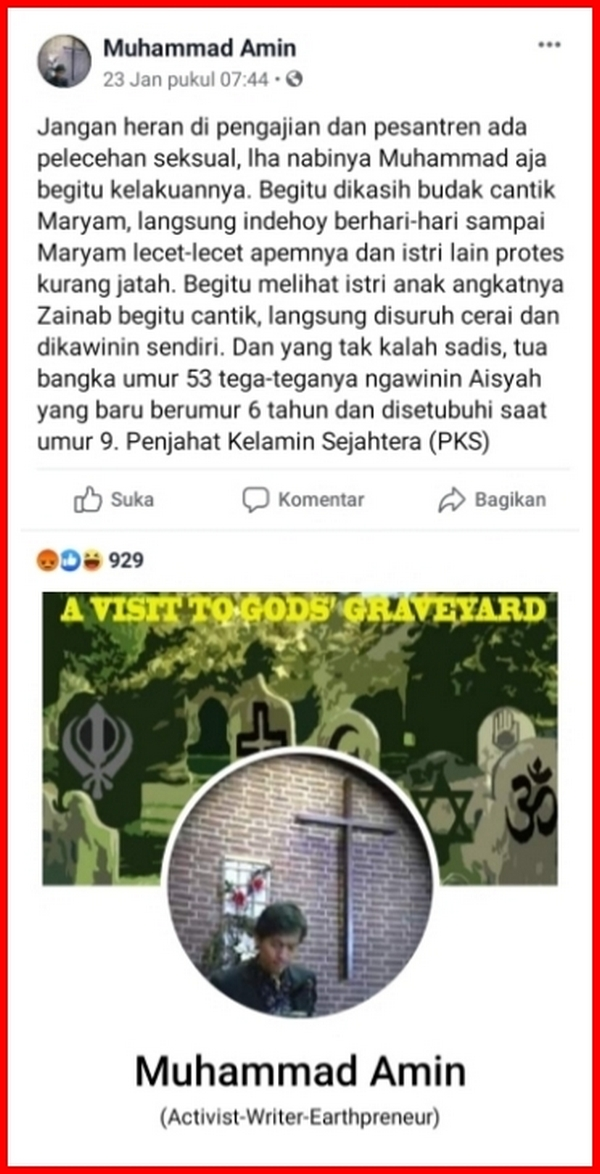 "Hina Nabi Muhammad di Facebook, Pemilik Akun ""Muhammad Amin"" Punya Misi Khusus?"