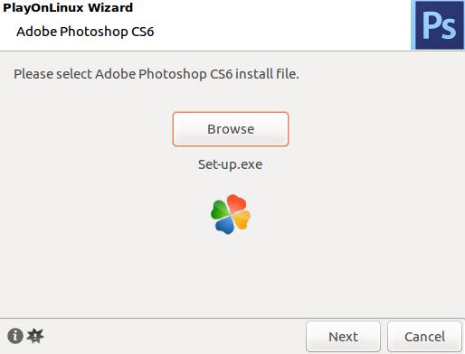 File instalasi photoshop dimasukkan di playonlinux