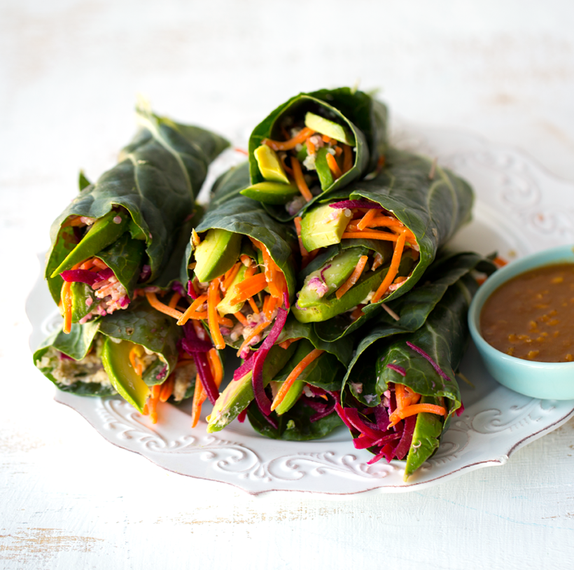 Easy Collard Wraps with Peanut Sauce