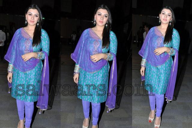 Telugu Actress Jyothi In Blue Salwar: Hansika In Printed Silk Salwar Kameez