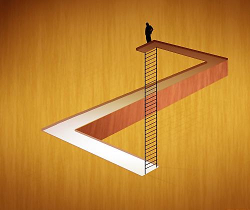 Z Harfi gibi duran yolun iki ucuna uzanan merdiven paradoksu