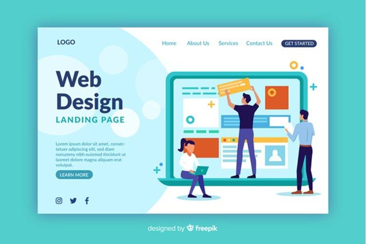 Download Wallpaper Web Design Landing Page Template Free Vector