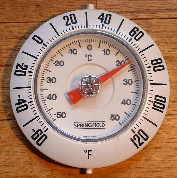 Termómetro con escala Fahrenheit y escala Celsius