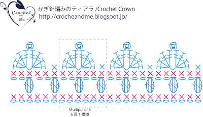 かぎ針編みのティアラの編み図