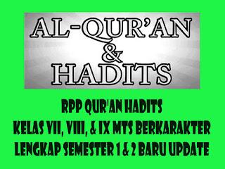 RPP Qur'an Hadits Kelas VII, VIII, & IX MTs Berkarakter Lengkap Semester 1 & 2 Baru Update