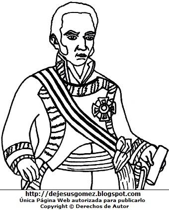 Dibujo del Virrey José de la Serna para colorear o pintar. Imagen del Virrey de la Serna de Jesús Gómez