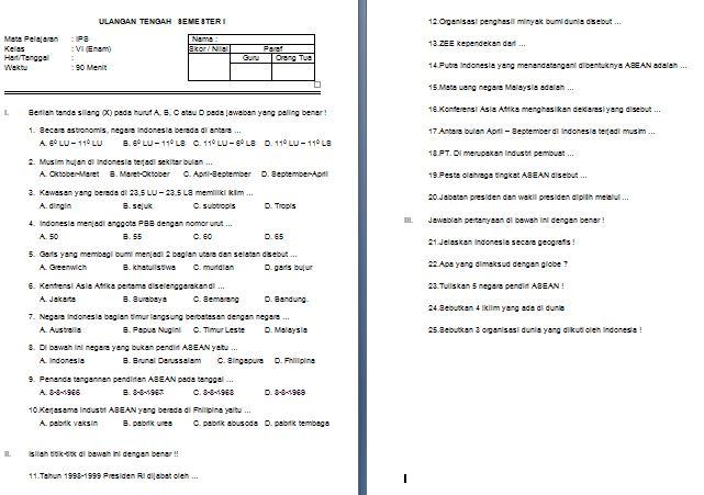 Download Soal UTS SD/MI Kelas VI Semester 1 Mata Pelajaran IPA (SAINS) Format Microsoft Word