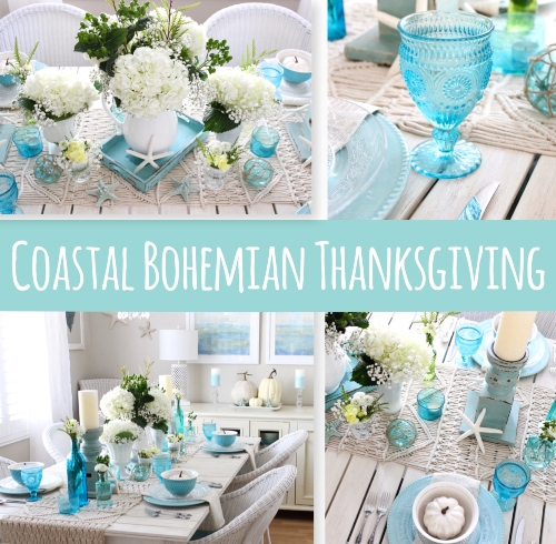 Coastal Beach Blue Thanksgiving Table Decor Idea