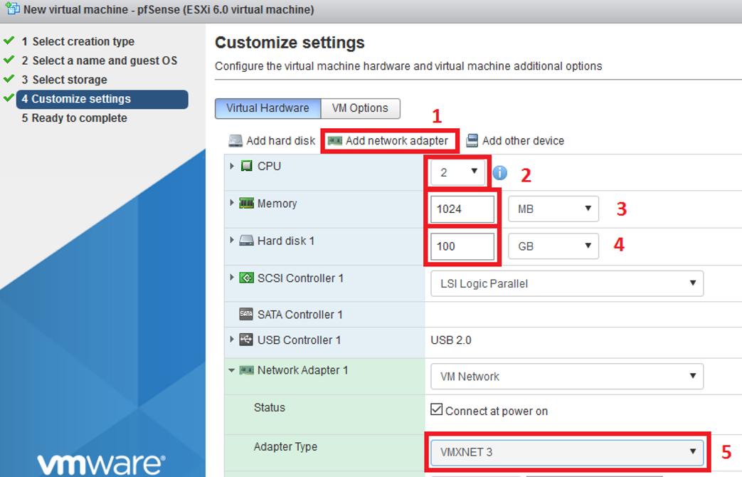VMWare ESXi: Instalar pfSense | SYSADMIT