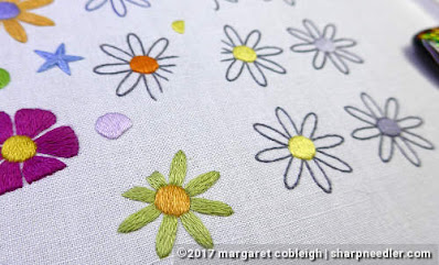 SFSNAD Flower Power Challenge: Grey embroidered daisies along with coloured flowers