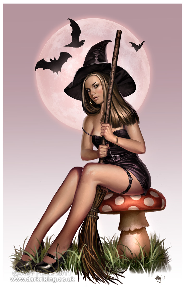 Halloween witch sexy cartoon pin up girls