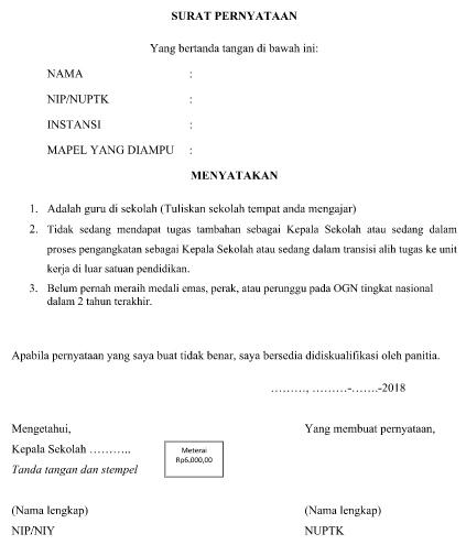 Download Format Surat Pernyataan Untuk Syarat Administrasi