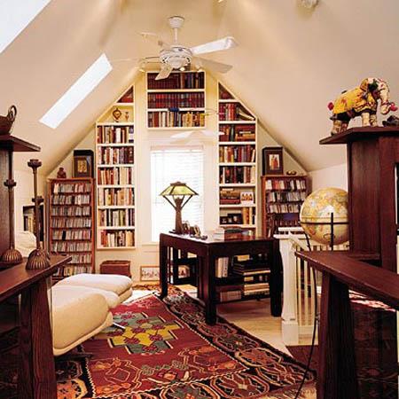 Tavan Arası Kitaplıklar Kitaplık Manzaraları