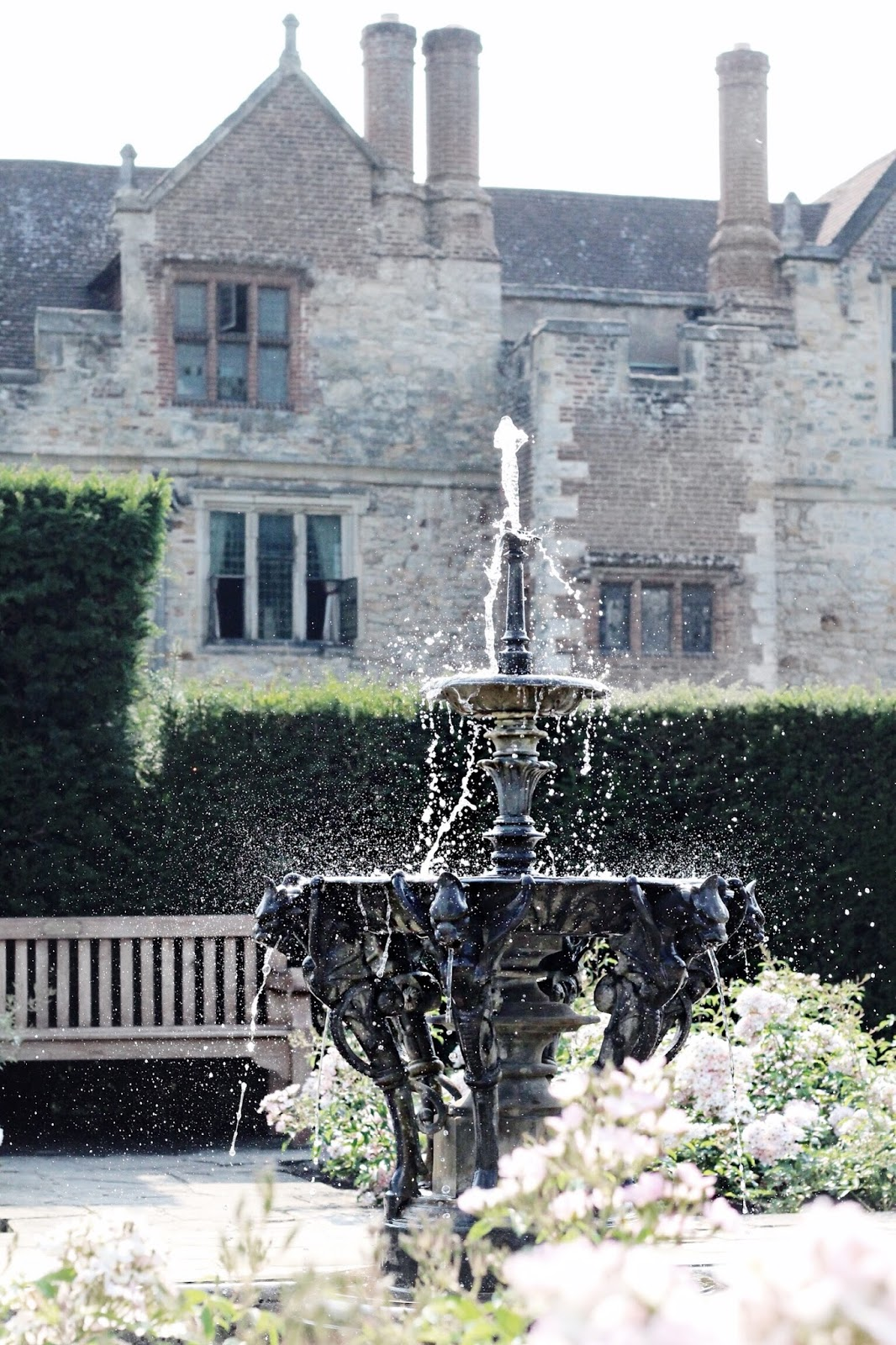 Hever Castle fountains under the sun