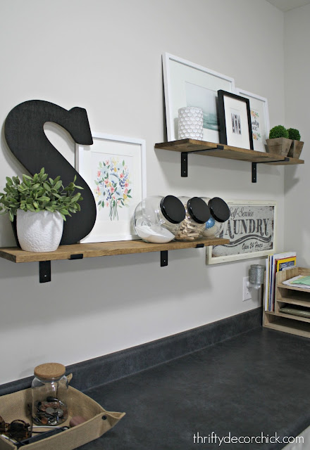 Simple and easy wood shelves in laundry room