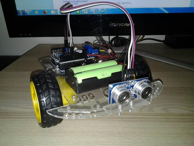 โปรเจค หุ่นยนต์หลบสิ่งกีดขวาง Arduino UNO + HY-SRF05