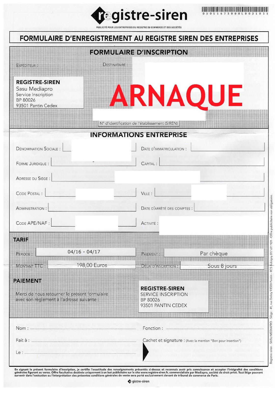 arnaques entrepreneurs  registre