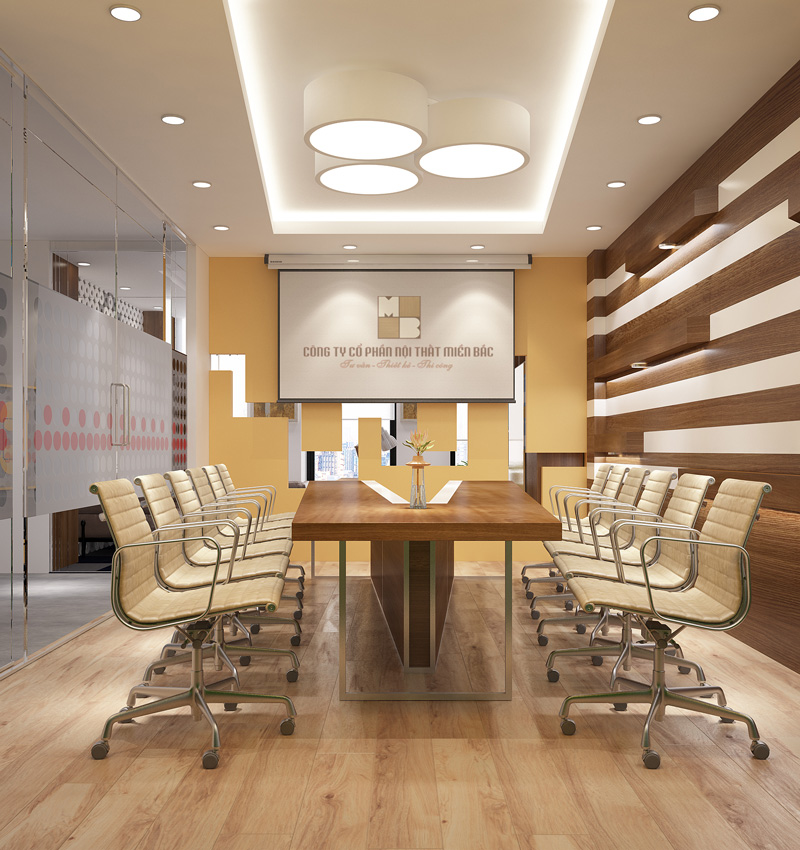 Thiết kế nội thất phòng họp với chiếc bàn thật độc đáo hình chữ V phá cách như mang đến nét đẹp tự nhiên và nổi bật