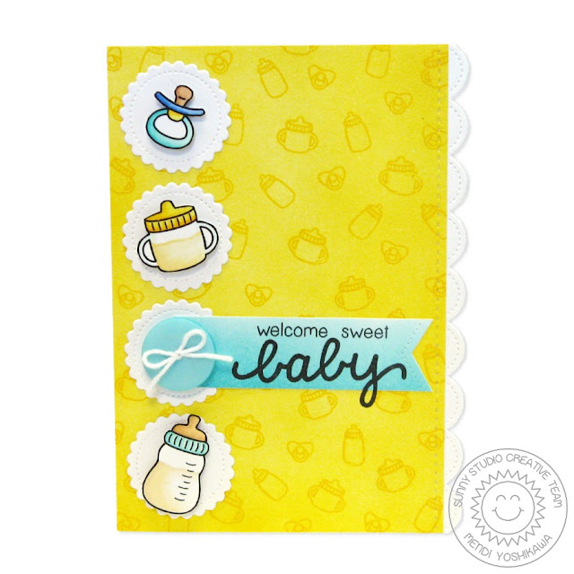 Sunny Studio Stamps: Baby Bear Bottle, Pacifier & Sippy Cup Card by Mendi Yoshikawa