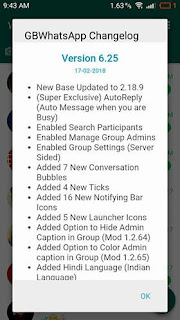 GBWhatsapp 6.25 changelog