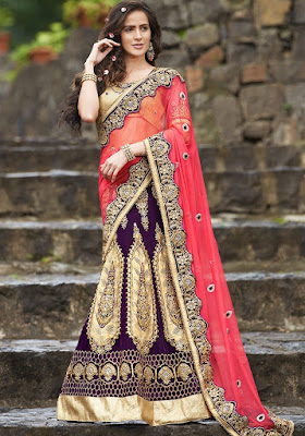 Designer-pink-and-purple-color-lehenga-style-saree