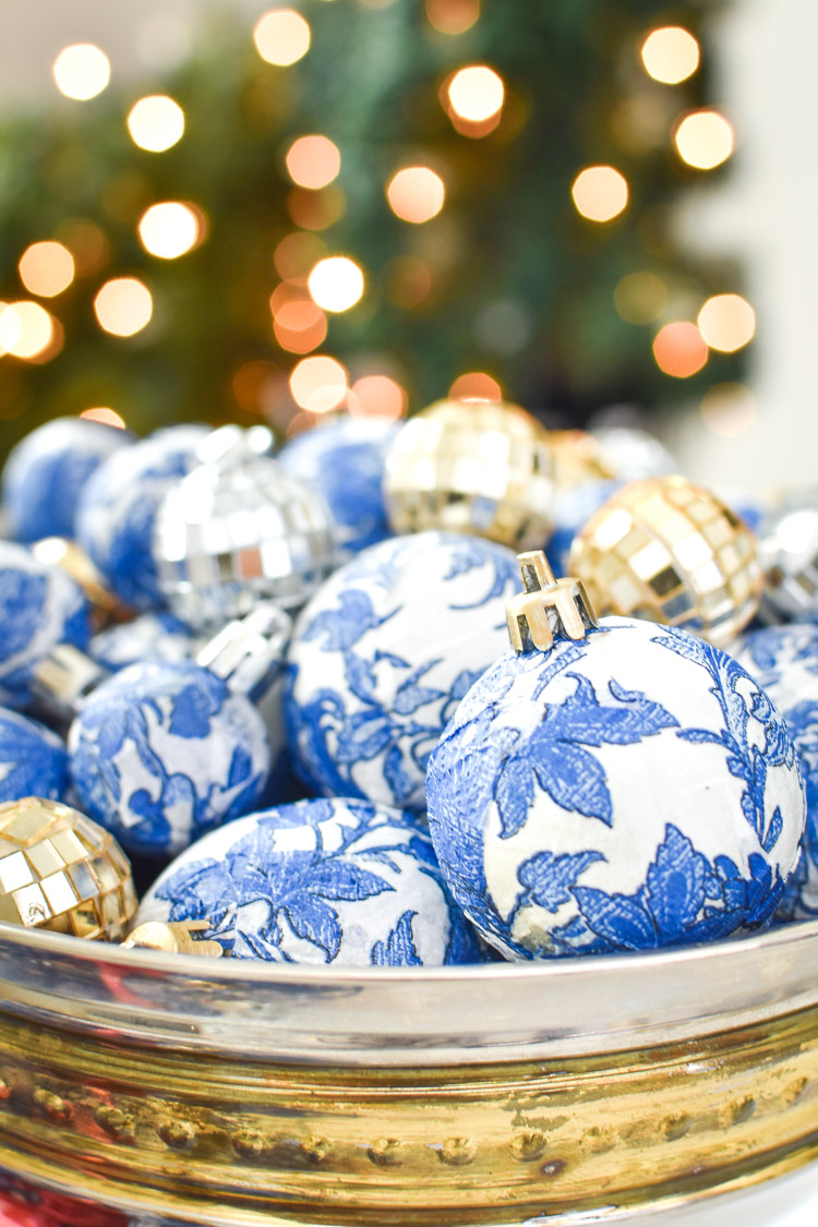 Blue and white chinoiserie ornaments DIY affordable craft