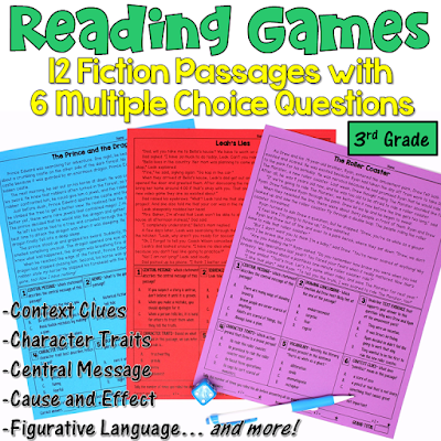 These reading games are perfect for test prep! This set includes 12 fiction passages written for 3rd graders. After reading each passage, students answer 6 multiple choice questions. Reading skills include central message, character traits, context clues, cause and effect, figurative language, and more!