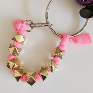 handmade key ring with beads and jersey fabric by Charm About You